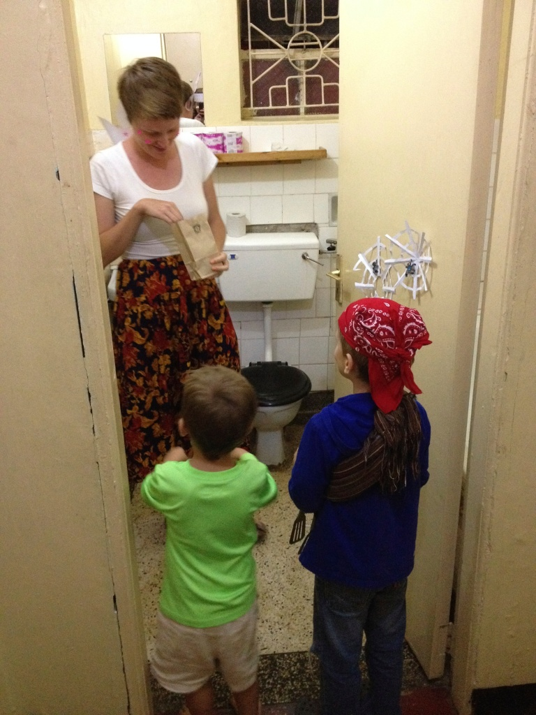 In-house trick-or-treating at the bathroom door