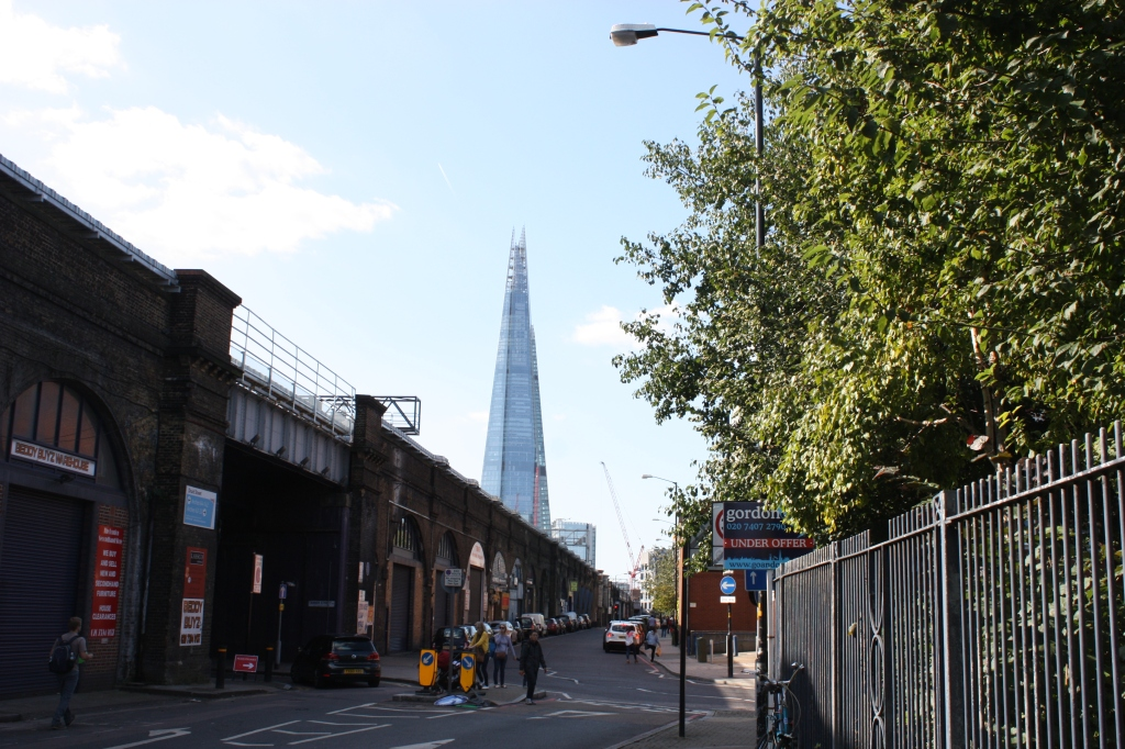 View of the Shard from the train bridge arches